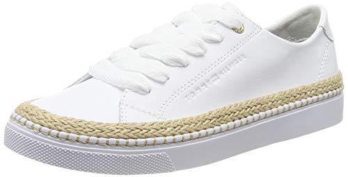 Tommy Hilfiger Tommy Jute City Sneaker, Zapatillas para Mujer, Blanco (White 100), 38 EU