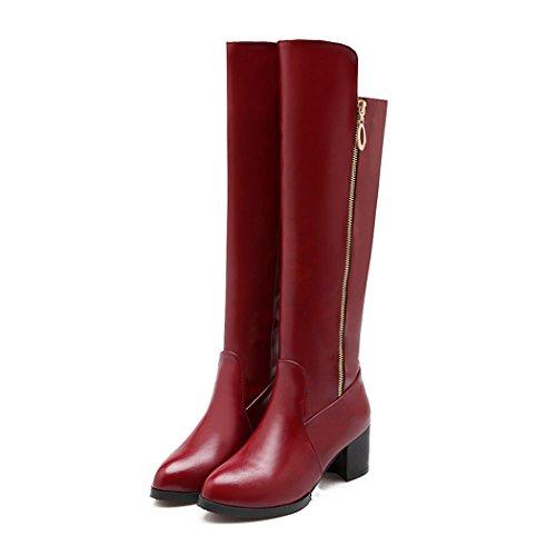 ZQ@QXLato europeo zipper spessore con chiusura lampo in metallo stivali scarpe gules