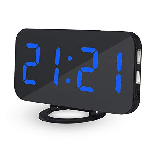 JoyFan LED-Digitaler elektrischer Wecker mit dualem USB-Ladeanschluss, 3-stufige Helligkeitseinstellung am Nachttisch, Schlummertaste für Schlafzimmer Büro Blue Number (Elektrischer Für Wecker Schlafzimmer)