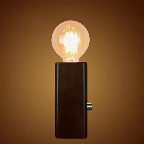 Loft Vintage Holztischlampe Dimmable - E27 Schlafzimmer-Nachttischlampe, braunes Finish rechteckiges Design Wohnzimmer Schlafzimmer Restaurant Art Deco Beleuchtung Desktop-Licht -