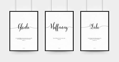 Aus Gnade Christliche Poster · Glaube Hoffnung Liebe · 3er Set · Bibelvers · Deko · Wandgestaltung · ohne Rahmen · A3 · christliche Geschenke · Deutsch (A3)