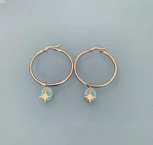 Cerchi della stella del nord, orecchini a cerchio della stella del nord d'oro e amazzonite, gioielli per le donne, cerchi d'oro, gioielli d'oro, gioielli regalo, regalo donna, gioielli