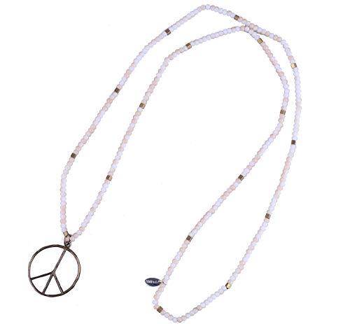 KELITCH Klassisch Frieden Zeichen Liebe Hippie Anhänger Auf Mattiert Kristall Wulstig Halskette (Weiß Orange) - Liebe Damen Kleidung