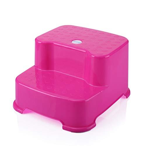 Children\'s Stools Double Step Hocker, Kinderhocker Panda kleine Bank Hocker rutschfeste Stepper Hocker Waschstuhl Stuhl/Blau, Pink, Grün (Farbe : Pink)