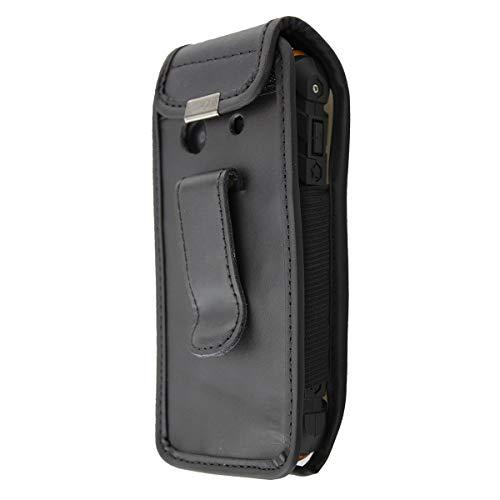 caseroxx Handy-Tasche Ledertasche mit Gürtelclip für AEG M550 Outdoor aus Echtleder, Handyhülle für Gürtel (mit Sichtfenster aus schmutzabweisender Klarsichtfolie in schwarz)