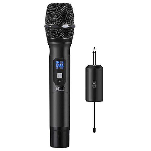 """TONOR Drahtlos Mikrofon, 25 Kanal UHF Handheld Mikrofone mit Mini Tragbarem Empfänger 1/4"""" Ausgang, für Kirche/Zuhause/Karaoke/Geschäftstreffen, Schwarz"""