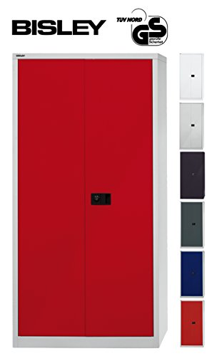 Bisley Aktenschrank | Werkzeugschrank | Flügeltürenschrank aus Metall abschließbar inkl. 4 Einlegeböden | Stahlschrank in Licht grau/Kardinal rot
