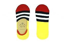 The Tie Hub Mens Cotton Aero Stripes Yellow Loafer Socks