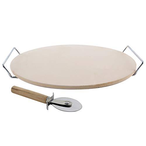 ORION Pizzastein rund Ø 33 cm Steinplatte für Pizza Flammkuchen Backstein für - Steinplatte Grill
