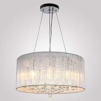 lier Modern Flush Pendelleuchten mit 4 Lampen Fabric Wire Shade Drum K9 Kristallleuchter für Wohnzimmer Schlafzimmer Hochzeit Dekoration Beleuchtung ()