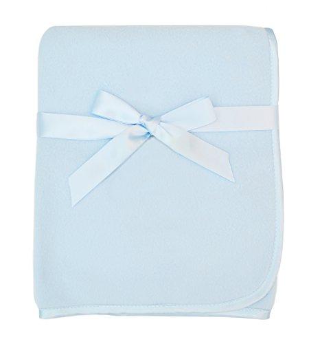 American Baby Company Fleece Decke mit Satin Trim, 3x 20,3cm, Blau (Baby Trim Decke)