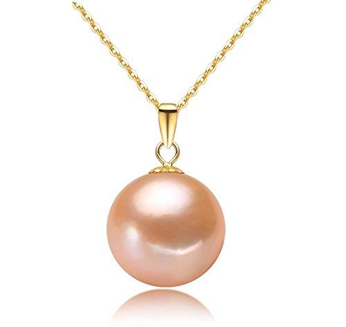 véritable perles Pendentif Collier de perles mode bijoux pendentif pendentif avec chaîne or jaune 18K carats (au750) Collier Collier Femme Long 45cm (14mm de 15mm) rose