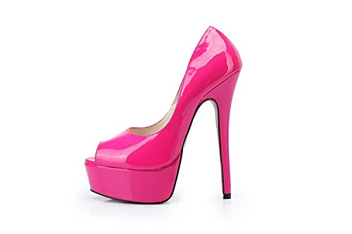 HeiSiMei Damen Sandalen / Komfort Leder / Stiletto Heel / Fisch Mund Schuhe / Dicke wasserdichte Plattform / Nightclub / Party & Abend / Office & Karriere / Pseudo-Mutter High Heels / Herren / Unisex ROSERED-EU41