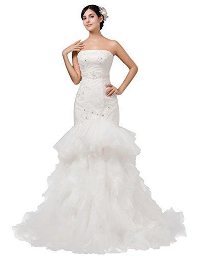 Dressystar Robe de mariée, à Sirène /trompette, à Tribunal/Traîne moyenne, à Gradin, Sans Bretelles, à Appliques, paillettes, en Taffetas, Organza Blanc