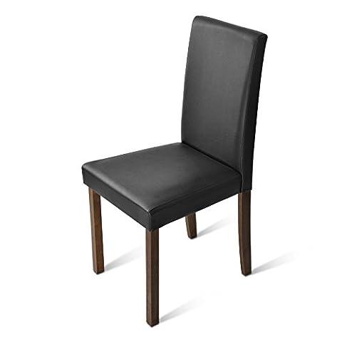 SAM® Sparset: 6 x Polster-Stuhl Billi, Esszimmer-Stuhl mit Lederimitat in braun, massive Holzbeine in kolonialfarben, Design-Stuhl für Küche und Esszimmer