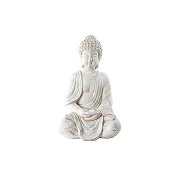 Figura de Buda sentado en fibra de vidrio - Color blanco (34x27x52 cm) 3