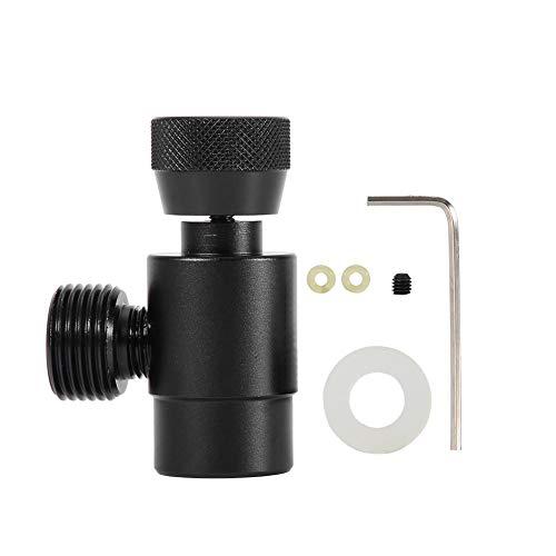 Simlug CO2-Miniregler, Keg-Ladegerät Nachfülladapter-Anschluss-Kit für Paintball-Tanks SodaStream-Tankzylinder(Black Without Meter) -