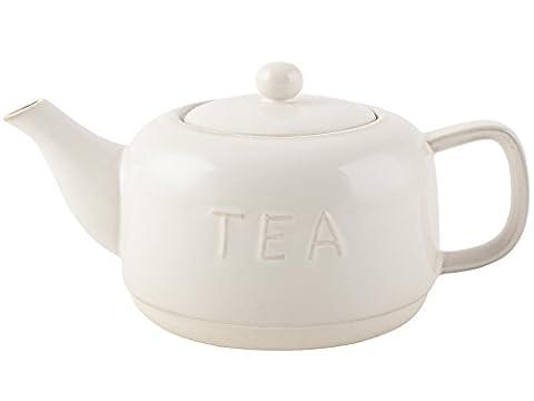 La Cafetiere Origins Embossed Teapot, Stoneware, White