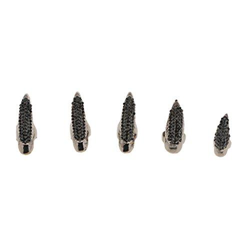 Estilo Punk Rock Gótico Anillo de Diamantes de Imitación Garra de águi Dedo Punta de Clavo 5pcs Negro