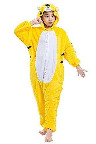 Kinder Jumpsuit Onesie Tier Karton Fasching Karneval Halloween Kostüm Mädchen Junge Kigurumi Sleepsuit Overall Pyjama Unisex Lounge Cosplay Schlafanzug, Gelb Tiger