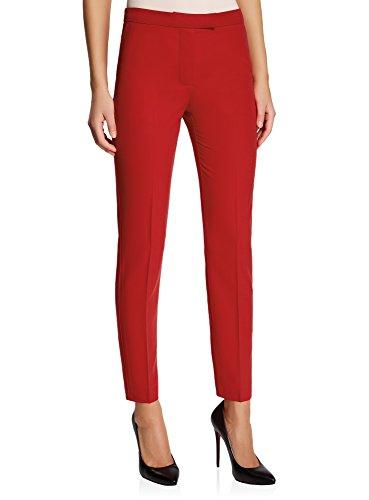Oodji collection donna pantaloni classici stretti, rosso, it 40 / eu 36 / xs