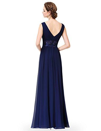 Ever Pretty Damen Sexy V-Ausschnitt Lang Abendkleider 08854 Marineblau