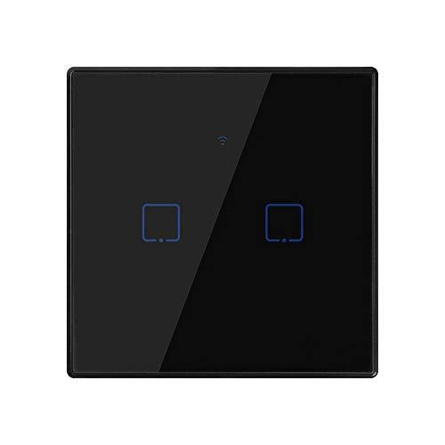 BSDK WiFi Smart Wandleuchte Touch Panel Switch 2 Gruppen, EU, APP Fernbedienung Kompatibel mit Alexa und Google Smart Assistant -
