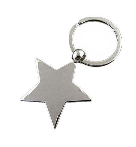 WODEJIAYUAN Cute Fashion Five Pointed Star Metal Keychain Keyring Keyfob Key Ring Car Keyring Pendant Gift 3D Pendan