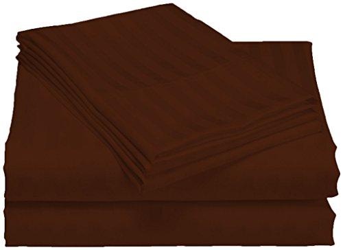 SCALABEDDING 100% ägyptische Baumwolle, 300 TC 25-Zoll-Tiefe Tasche Blatt, Set, gestreift, Kingsize, Schokolade -