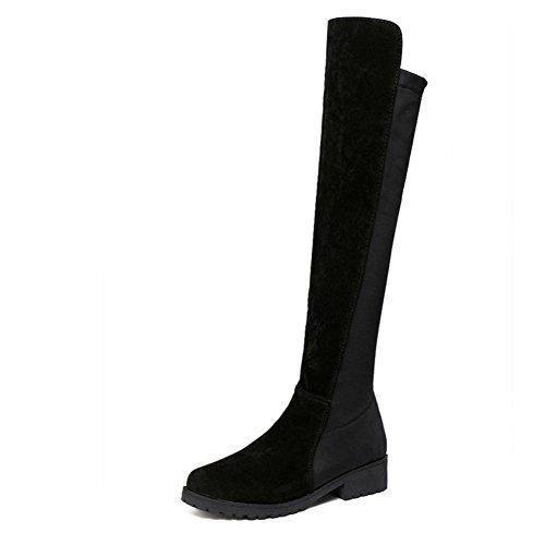 Damen Schuhe DEELIN Sexy Frauen Overknee Stretch Oberschenkel Hohe Slouchy Flache Heel Stiefel Schuhe (35, Schwarz) (Slouchy-stiefel)