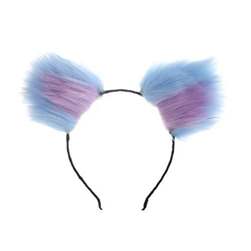 Haarreif Katze Ohr Stirnbänder Ohren Haarschmuck Plüsch Haarband Party Kostüm (blau und lila) ()