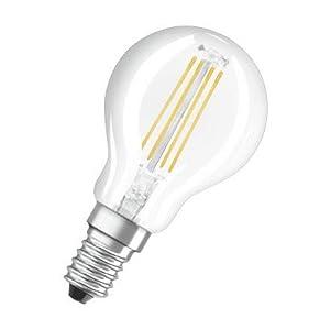 Osram LED Base Classic P Lampe, Sockel: E14, Warm White, 2700 K, 4 W, Ersatz für 40-W-Glühbirne, klar ,5er pack