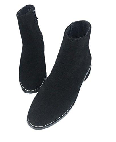 GTYW Ladies High Heels Stivali Da Donna Martin Boots Stivali Singoli Autunno E Inverno Matte Plus Velvet Rough Con Cerniera Laterale Martin Boots Inghilterra Scarpe Da Donna BlackPlusVelvet