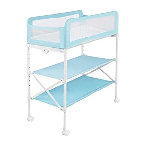 YYLVM Baby Bath And Dresser Foldable Dressing Table Large Storage Space Mobile Changing Table Dresser Bath Tub Nursing Station 2-In-1 Baby Bath (Color : Blue)   10