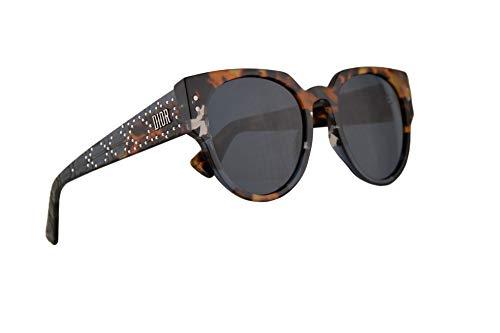 Dior Frau Christian LadyDiorStuds3 Sonnenbrille w/blau-Objektiv 52mm JBWKU LadyDiorStuds3 / S Ladydiorstuds3 Lady Studs 3 LadyDiorStuds 3 blau Havanna groß