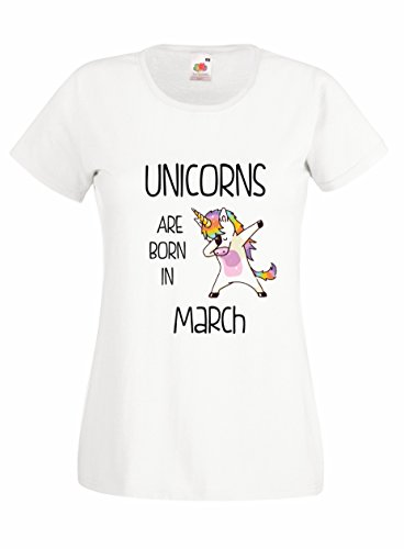 Settantallora - T-shirt Maglietta donna J2074 Unicorns Are Born In Marzo Bianco