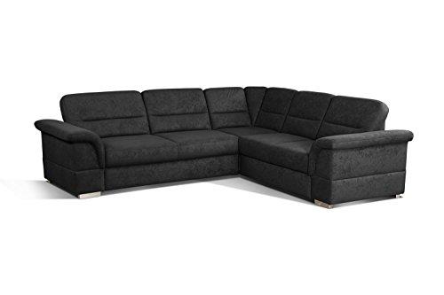 Cavadore 5900984021341 Polsterecke Ecksofa, Schaumstoff, schwarz, 262 x 233 x 87 cm