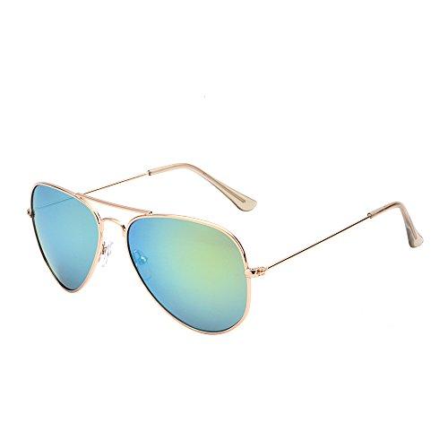 JM Retro Spiegel Flieger Sonnenbrille Blitz Getönt Linse Brille für Damen Herren UV400(Gold/Gelb)