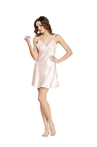 Luck Femme Fille Pyjama en Soie Veste de Nuit Robe de Chambre Peignoir Dentelle Rose Clair