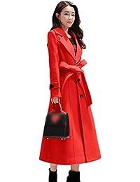 Gabardina Mujer Moda Invierno Windbreaker Bolsillos Laterales con Cinturón Manga Larga Modernas Unicolor De Solapa Largos