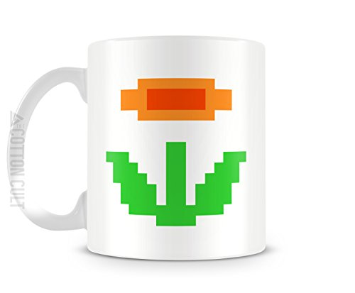 Super Mario Bros 8bit Fire Flower Power Up Gamer taza 11oz taza de cerámica taza de café té de videojuegos de Nintendo
