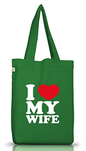 Shirtstreet24,I LOVE MY WIFE, Muttertag Valentinstag Jutebeutel Stoff Tasche Earth Positive Moss Green