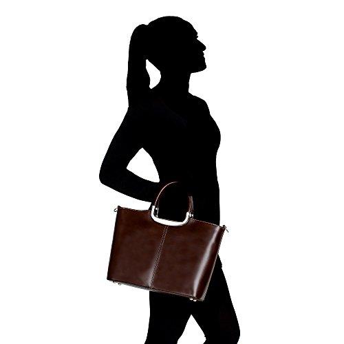 Bajo Costo Borsa a Mano da Donna con Tracolla in Vera Pelle Made in Italy Chicca Borse 36x27x12 Cm Marrone scuro Descuentos Venta Precio Increíble Comprar Barato Exclusiva N7xAGr0uC1