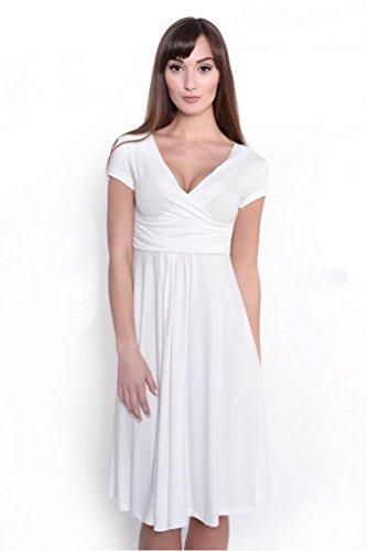 Kleid mit Raffungen überlappender V-Ausschnitt in 14 Farben, 8416 Ecru