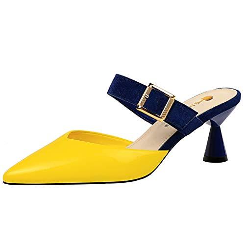 Strungten Mode Frauen frühling und Sommer und Schnalle Schnalle wies Schuhe Hausschuhe Sandalen beiläufige Schuhe dünne high Heel Schuhe