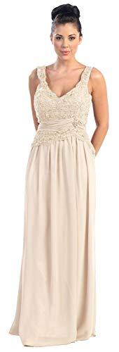 Brautkleid Hochzeitskleid Standesamtkleid Abendkleid Boden-lang mit Träger kaschierend Festliches Ballkleid elegant aus Chiffon mit Pailletten in großen Größen XXXL Creme Größe 48