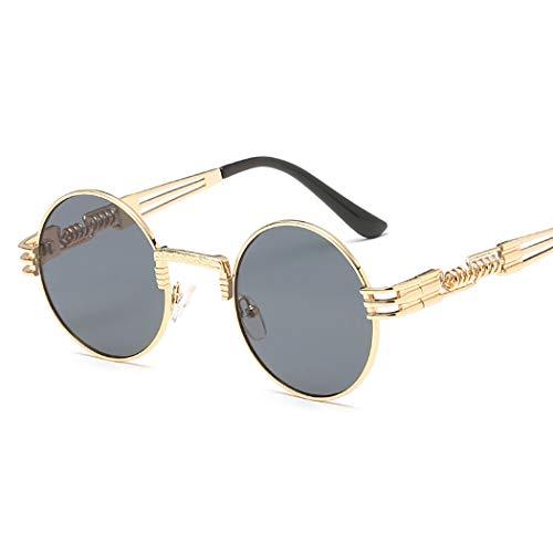 Mzq-yj Damen Retro Fahren Polarisierte Sonnenbrillen, Frauen Metallrahmen Steampunk Spring Leg UV400, Gespiegelte Federscharniere, HD Vision Eyes Protection Ultra Light,A,OneSize