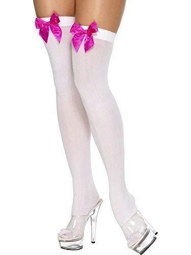 Damen schwarz weiß blau rot rosa blau gingham-schleife TOP Piraten Matrose Dorothy Halloween Kostüm Strümpfe Socken Halterlos - Weiss mit Rosa Schleife, One Size