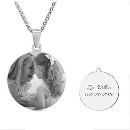 Yanday Fertigen Sie Foto-Halsketten-Runde besonders an - skizzieren Sie Stich-Bild und Text-personalisierte Halskette(Titan Stahl 18) (Rip Namen Halloween)