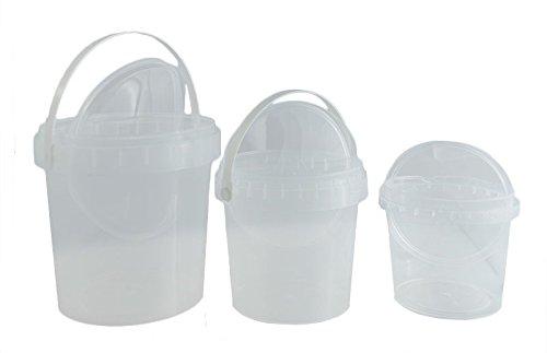 Preisvergleich Produktbild T4W leere kunststoff Eimer mit Deckel - Plastik - 100 x 0,5 Liter / Farbe: transparent (59326)